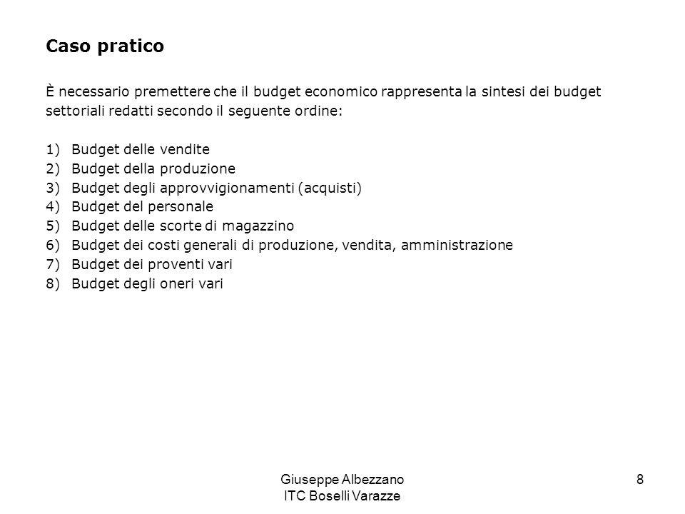 Giuseppe Albezzano ITC Boselli Varazze 8 Caso pratico È necessario premettere che il budget economico rappresenta la sintesi dei budget settoriali red