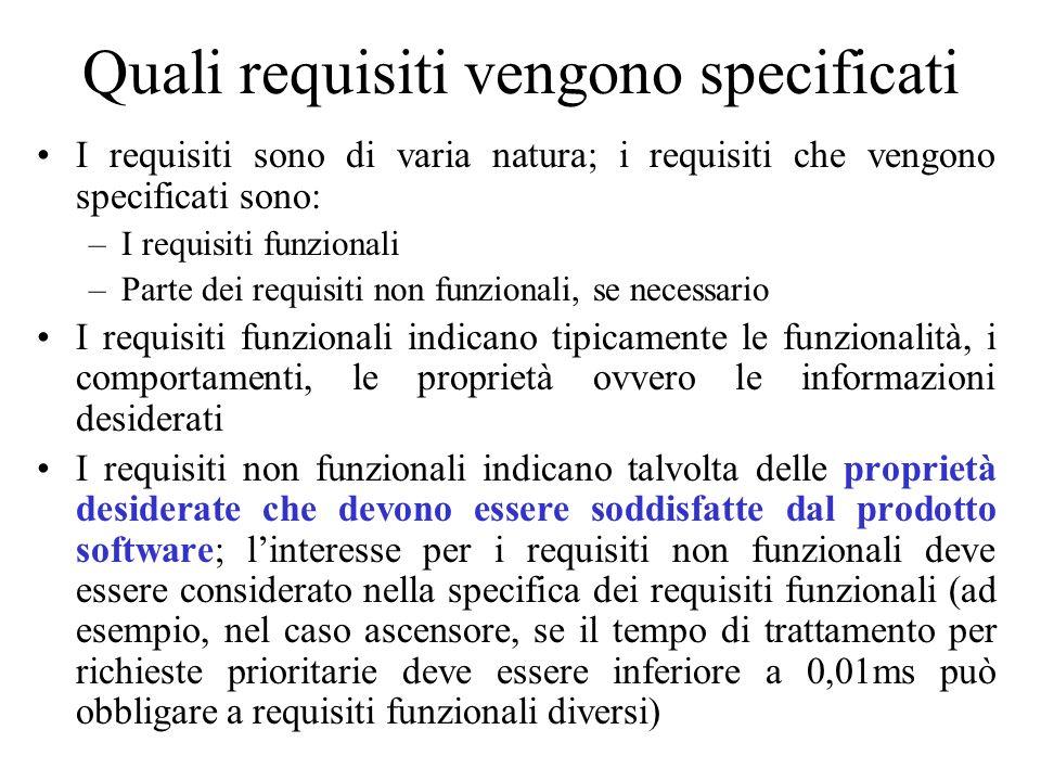 Quali requisiti vengono specificati I requisiti sono di varia natura; i requisiti che vengono specificati sono: –I requisiti funzionali –Parte dei req