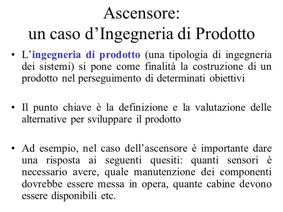 Ascensore: un caso dIngegneria di Prodotto Lingegneria di prodotto (una tipologia di ingegneria dei sistemi) si pone come finalità la costruzione di u