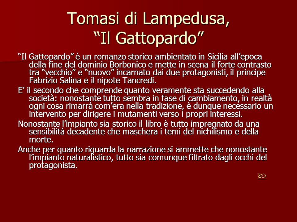 Tomasi di Lampedusa, Il Gattopardo Il Gattopardo è un romanzo storico ambientato in Sicilia allepoca della fine del dominio Borbonico e mette in scena