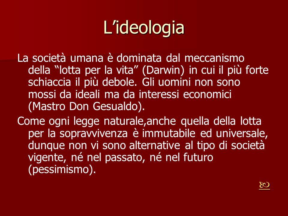 Lideologia La società umana è dominata dal meccanismo della lotta per la vita (Darwin) in cui il più forte schiaccia il più debole. Gli uomini non son