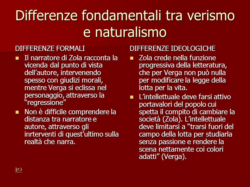 Differenze fondamentali tra verismo e naturalismo DIFFERENZE FORMALI Il narratore di Zola racconta la vicenda dal punto di vista dellautore, intervene