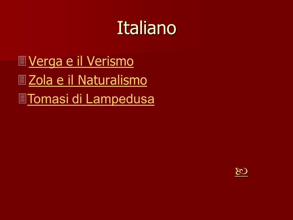 Italiano Verga e il Verismo Zola e il Naturalismo Zola e il Naturalismo Tomasi di Lampedusa