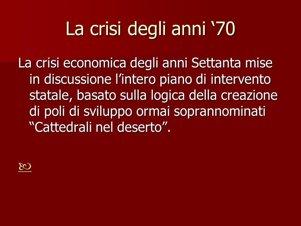 La crisi degli anni 70 La crisi economica degli anni Settanta mise in discussione lintero piano di intervento statale, basato sulla logica della creaz