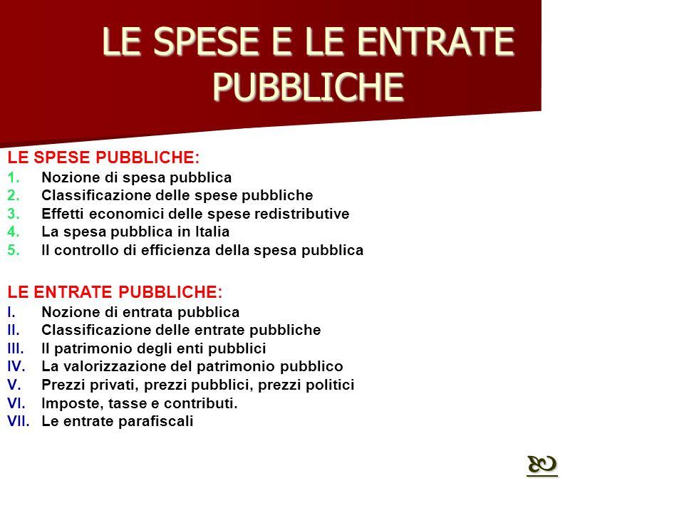LE SPESE E LE ENTRATE PUBBLICHE LE SPESE PUBBLICHE: 1.Nozione di spesa pubblica 2.Classificazione delle spese pubbliche 3.Effetti economici delle spes