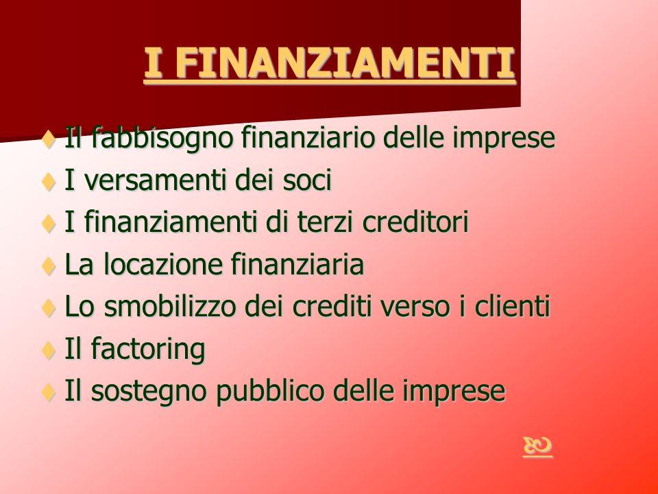 I FINANZIAMENTI I FINANZIAMENTI Il fabbisogno finanziario delle imprese Il fabbisogno finanziario delle imprese I versamenti dei soci I versamenti dei