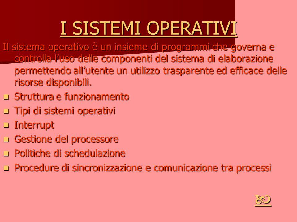 I SISTEMI OPERATIVI I SISTEMI OPERATIVI Il sistema operativo è un insieme di programmi che governa e controlla luso delle componenti del sistema di el