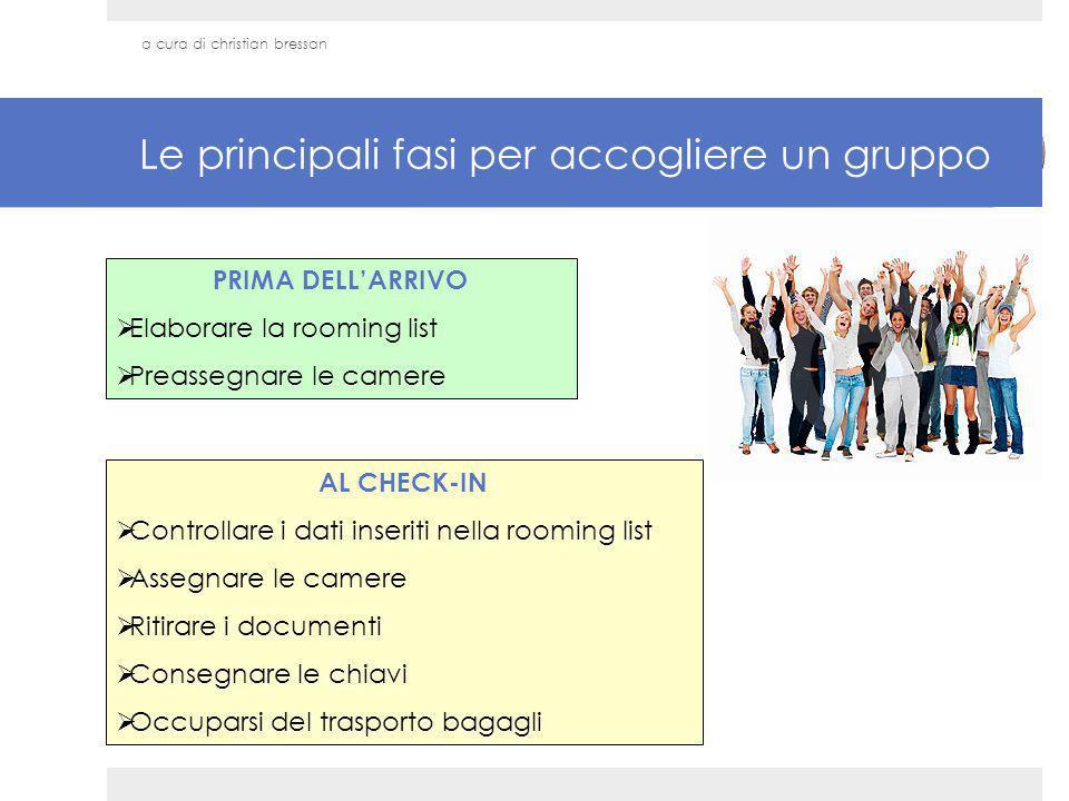 Le principali fasi per accogliere un gruppo PRIMA DELLARRIVO Elaborare la rooming list Preassegnare le camere AL CHECK-IN Controllare i dati inseriti