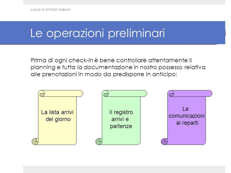 Le operazioni preliminari Prima di ogni check-in è bene controllare attentamente il planning e tutta la documentazione in nostro possesso relativa all