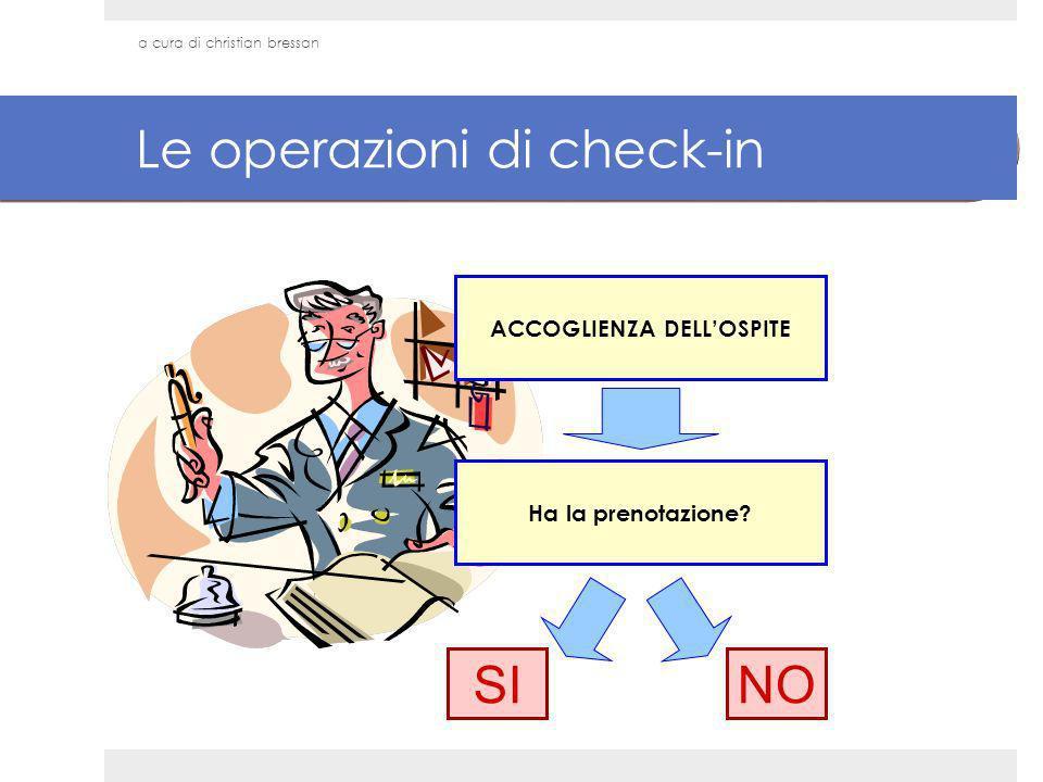 Le operazioni di check-in ACCOGLIENZA DELLOSPITE SI Ha la prenotazione? NO a cura di christian bressan