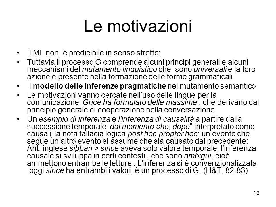 16 Le motivazioni Il ML non è predicibile in senso stretto: Tuttavia il processo G comprende alcuni principi generali e alcuni meccanismi del mutament