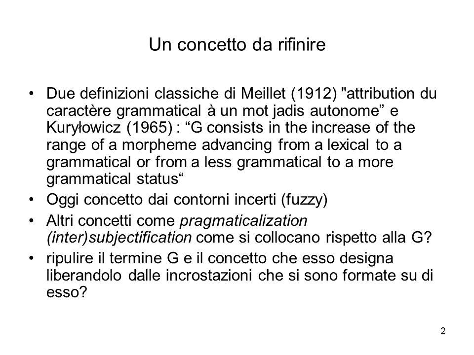 2 Un concetto da rifinire Due definizioni classiche di Meillet (1912)