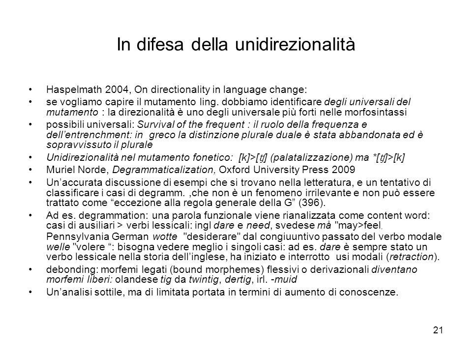 21 In difesa della unidirezionalità Haspelmath 2004, On directionality in language change: se vogliamo capire il mutamento ling. dobbiamo identificare