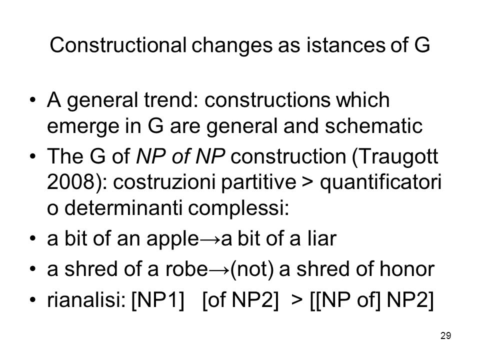 29 Constructional changes as istances of G A general trend: constructions which emerge in G are general and schematic The G of NP of NP construction (