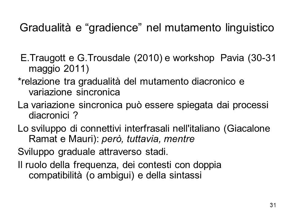 31 Gradualità e gradience nel mutamento linguistico E.Traugott e G.Trousdale (2010) e workshop Pavia (30-31 maggio 2011) *relazione tra gradualità del