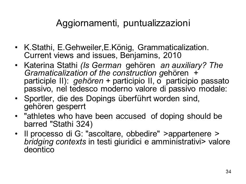 34 Aggiornamenti, puntualizzazioni K.Stathi, E.Gehweiler,E.König, Grammaticalization. Current views and issues, Benjamins, 2010 Katerina Stathi (Is Ge