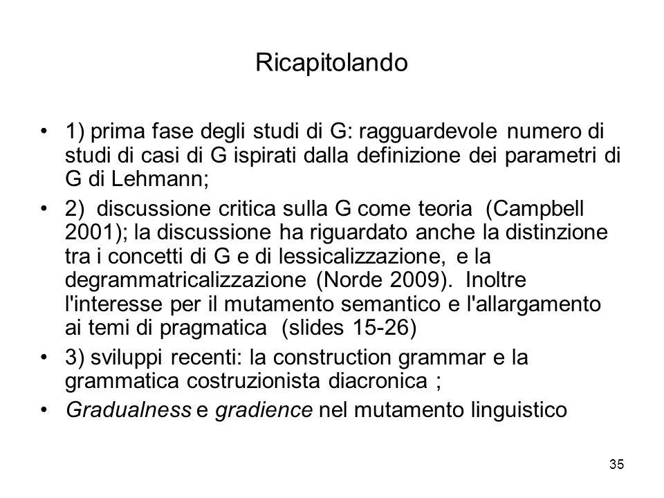 35 Ricapitolando 1) prima fase degli studi di G: ragguardevole numero di studi di casi di G ispirati dalla definizione dei parametri di G di Lehmann;