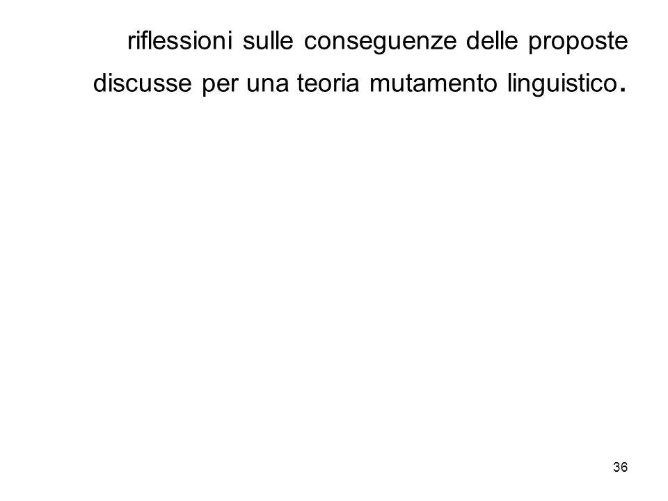 36 riflessioni sulle conseguenze delle proposte discusse per una teoria mutamento linguistico.