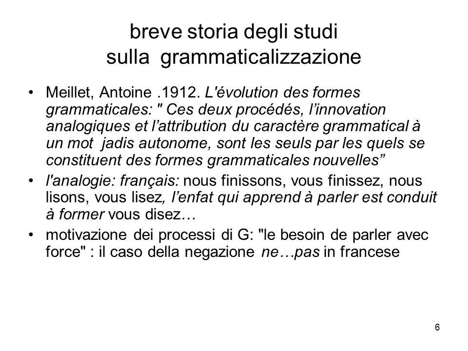 6 breve storia degli studi sulla grammaticalizzazione Meillet, Antoine.1912. L'évolution des formes grammaticales: