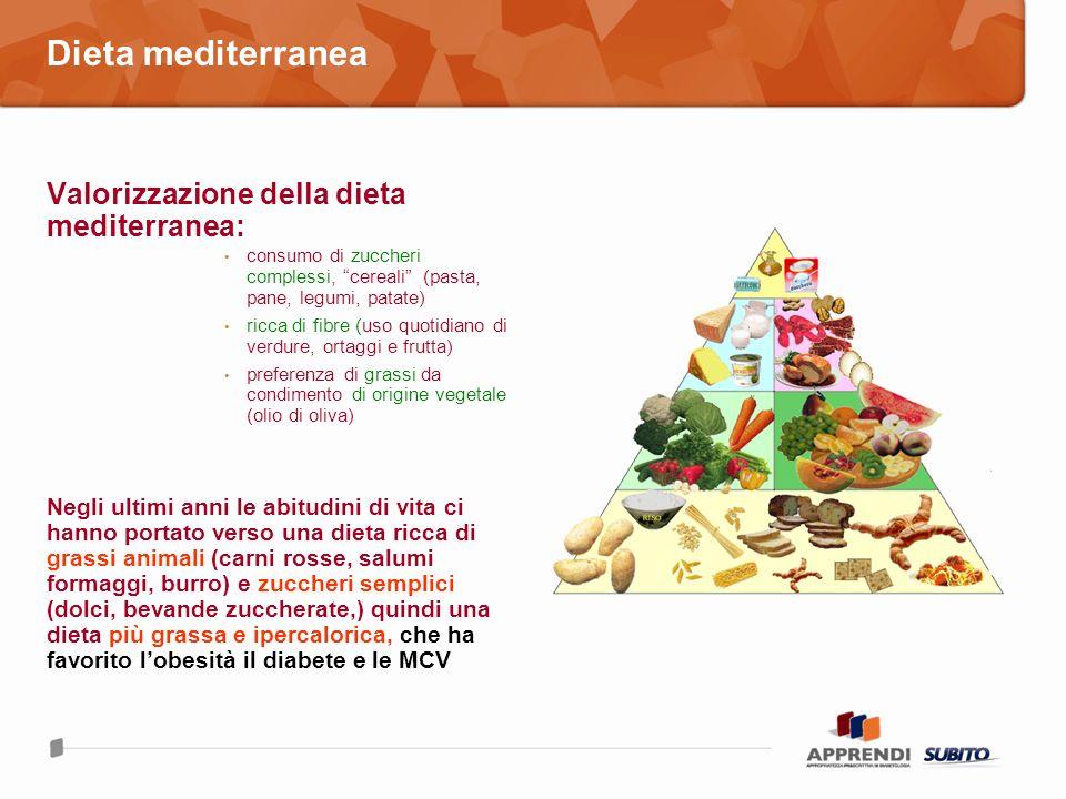 Dieta mediterranea Valorizzazione della dieta mediterranea: consumo di zuccheri complessi, cereali (pasta, pane, legumi, patate) ricca di fibre (uso q