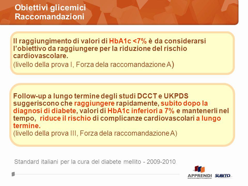 Obiettivi glicemici Raccomandazioni Il raggiungimento di valori di HbA1c <7% è da considerarsi lobiettivo da raggiungere per la riduzione del rischio