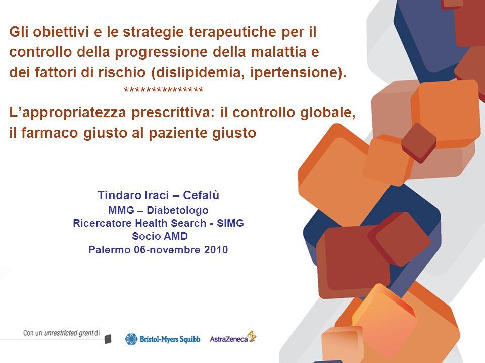 Gli obiettivi e le strategie terapeutiche per il controllo della progressione della malattia e dei fattori di rischio (dislipidemia, ipertensione). **