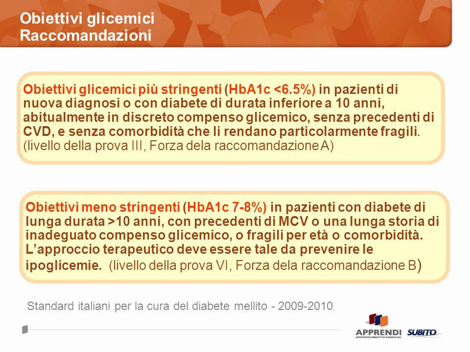 Obiettivi glicemici Raccomandazioni Standard italiani per la cura del diabete mellito - 2009-2010. Obiettivi glicemici più stringenti (HbA1c <6.5%) in