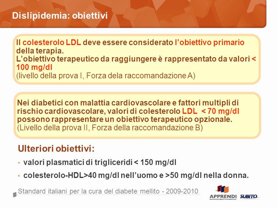 Dislipidemia: obiettivi Standard italiani per la cura del diabete mellito - 2009-2010. Il colesterolo LDL deve essere considerato lobiettivo primario