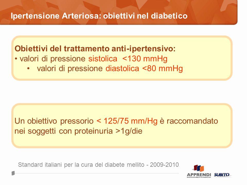 Ipertensione Arteriosa: obiettivi nel diabetico Obiettivi del trattamento anti-ipertensivo: valori di pressione sistolica <130 mmHg valori di pression