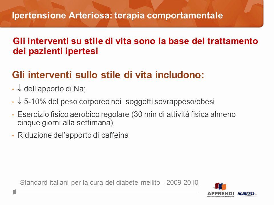 Ipertensione Arteriosa: terapia comportamentale Gli interventi sullo stile di vita includono: dellapporto di Na; 5-10% del peso corporeo nei soggetti