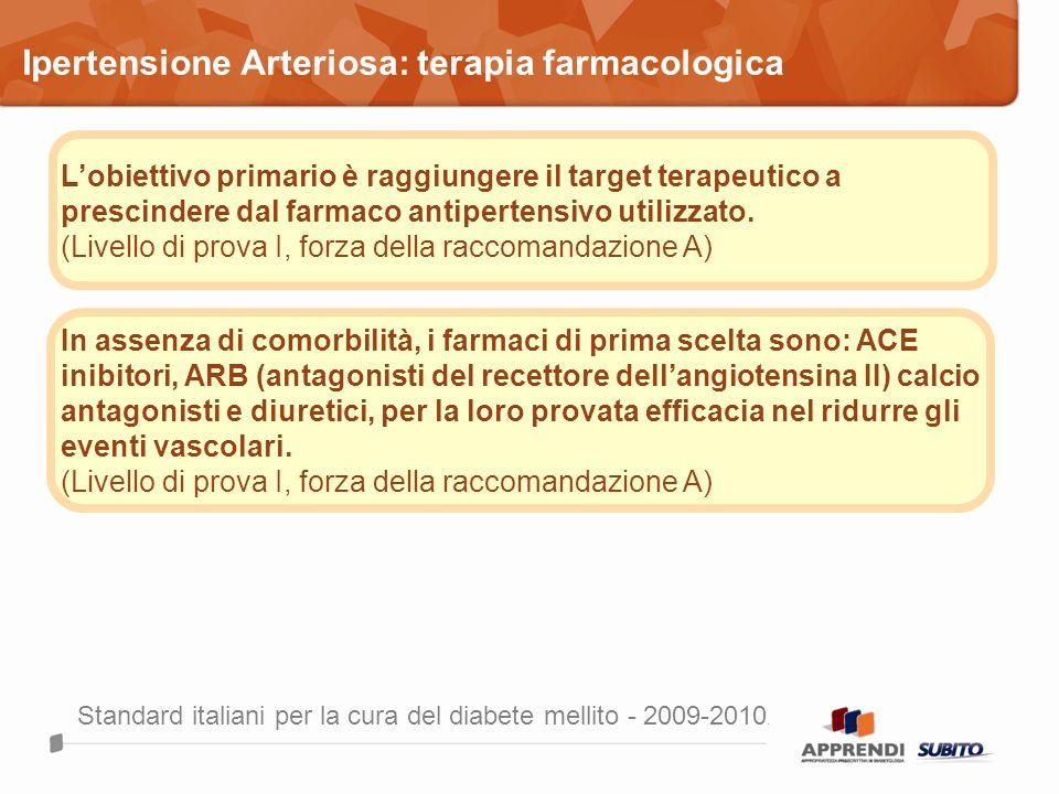 Lobiettivo primario è raggiungere il target terapeutico a prescindere dal farmaco antipertensivo utilizzato. (Livello di prova I, forza della raccoman
