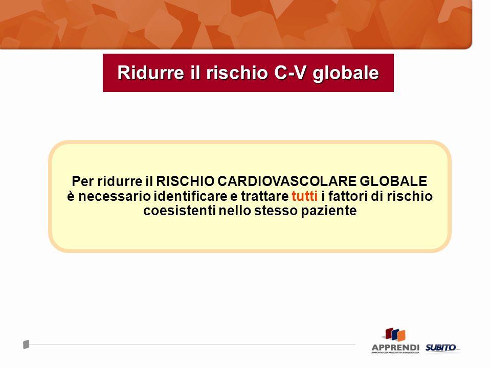 Ridurre il rischio C-V globale Per ridurre il RISCHIO CARDIOVASCOLARE GLOBALE è necessario identificare e trattare tutti i fattori di rischio coesiste