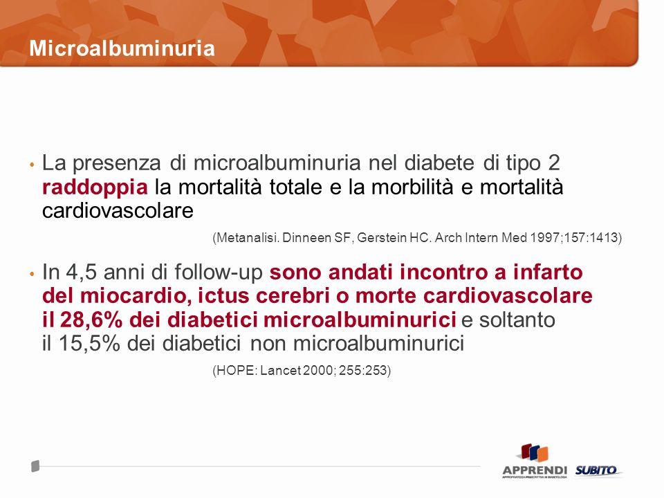 La presenza di microalbuminuria nel diabete di tipo 2 raddoppia la mortalità totale e la morbilità e mortalità cardiovascolare (Metanalisi. Dinneen SF