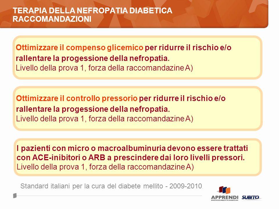 TERAPIA DELLA NEFROPATIA DIABETICA RACCOMANDAZIONI Ottimizzare il compenso glicemico per ridurre il rischio e/o rallentare la progessione della nefrop