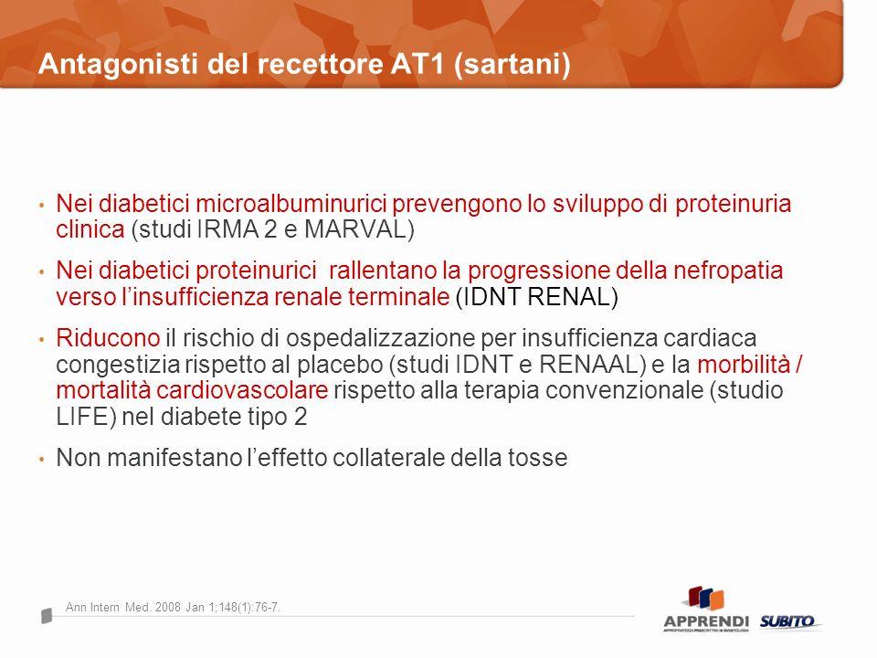 Antagonisti del recettore AT1 (sartani) Nei diabetici microalbuminurici prevengono lo sviluppo di proteinuria clinica (studi IRMA 2 e MARVAL) Nei diab