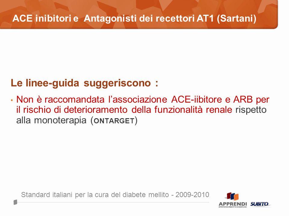 Le linee-guida suggeriscono : Non è raccomandata lassociazione ACE-iibitore e ARB per il rischio di deterioramento della funzionalità renale rispetto
