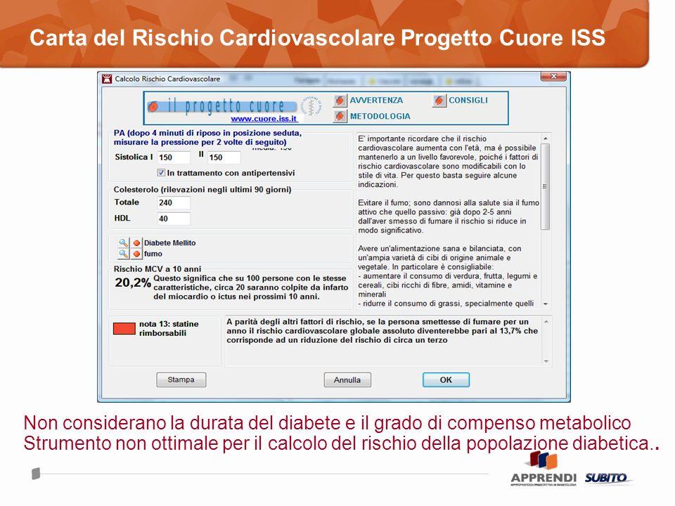 Carta del Rischio Cardiovascolare Progetto Cuore ISS Non considerano la durata del diabete e il grado di compenso metabolico Strumento non ottimale pe