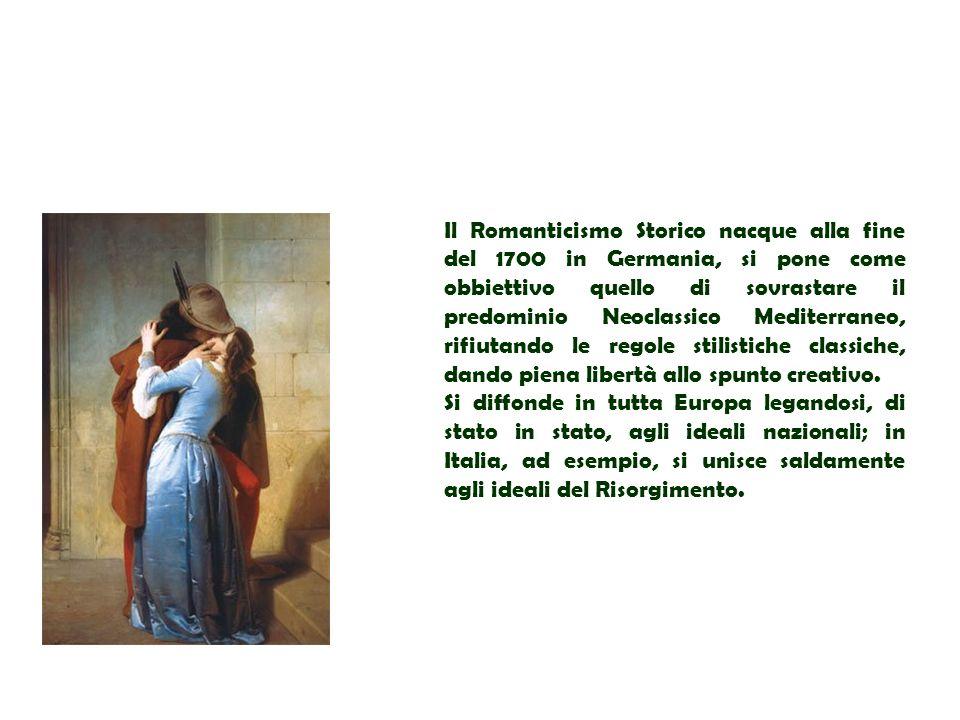 Il Romanticismo Storico nacque alla fine del 1700 in Germania, si pone come obbiettivo quello di sovrastare il predominio Neoclassico Mediterraneo, ri