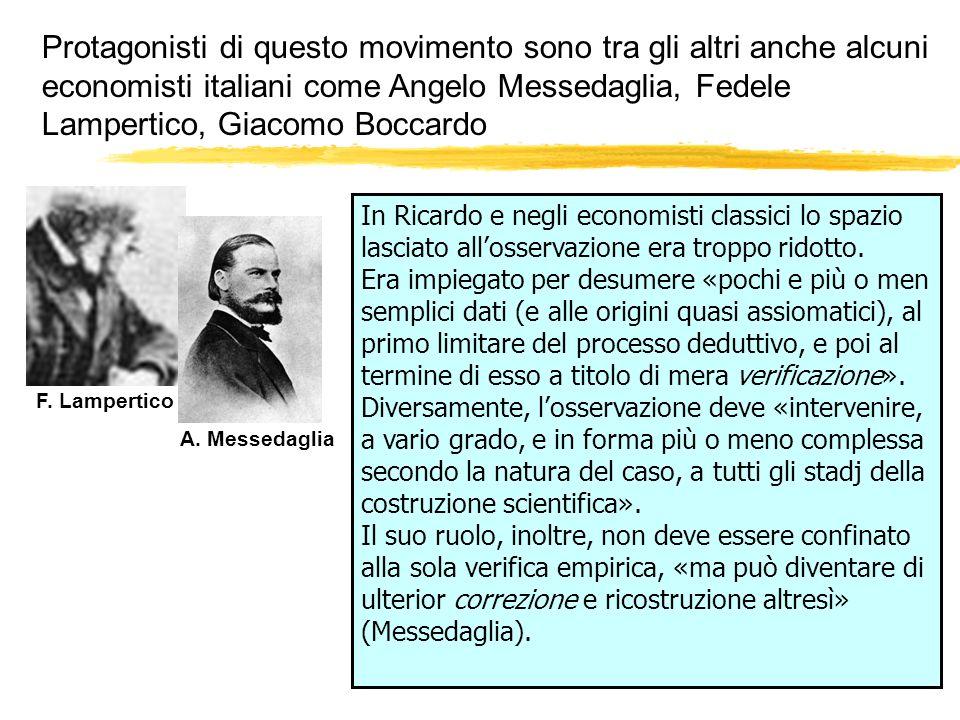 Protagonisti di questo movimento sono tra gli altri anche alcuni economisti italiani come Angelo Messedaglia, Fedele Lampertico, Giacomo Boccardo F. L