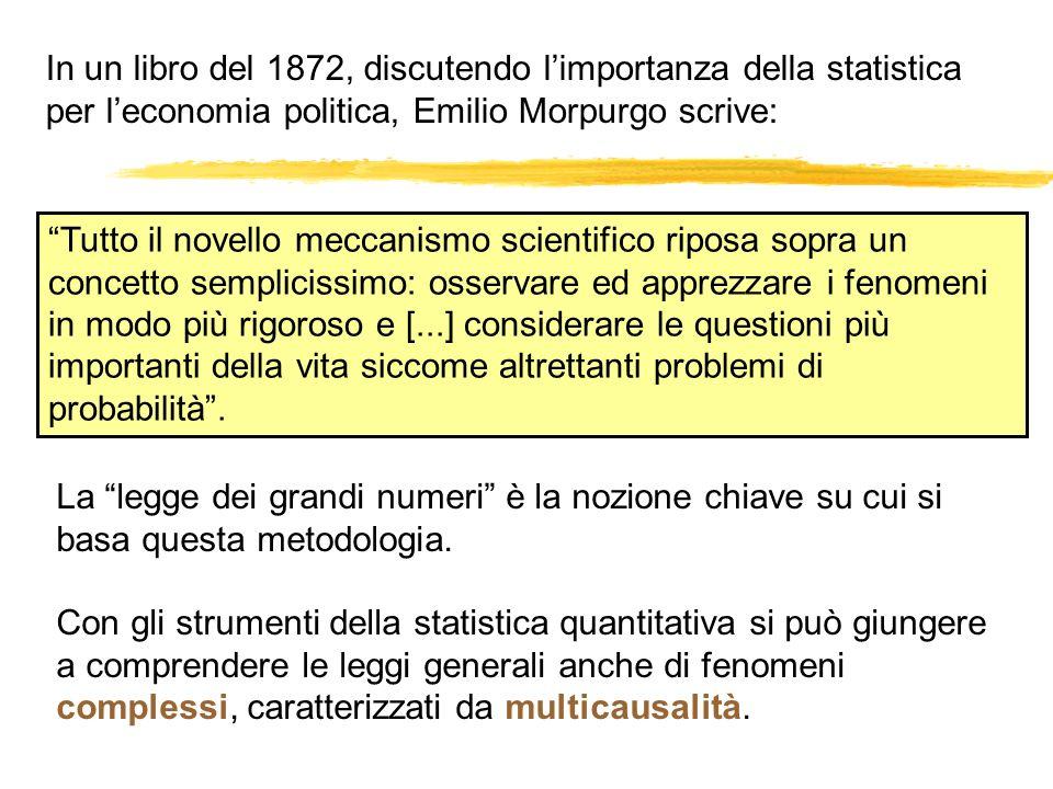 In un libro del 1872, discutendo limportanza della statistica per leconomia politica, Emilio Morpurgo scrive: Tutto il novello meccanismo scientifico