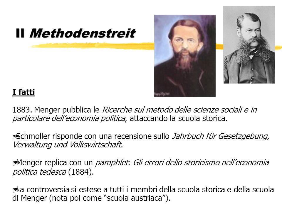 Il Methodenstreit I fatti 1883. Menger pubblica le Ricerche sul metodo delle scienze sociali e in particolare delleconomia politica, attaccando la scu