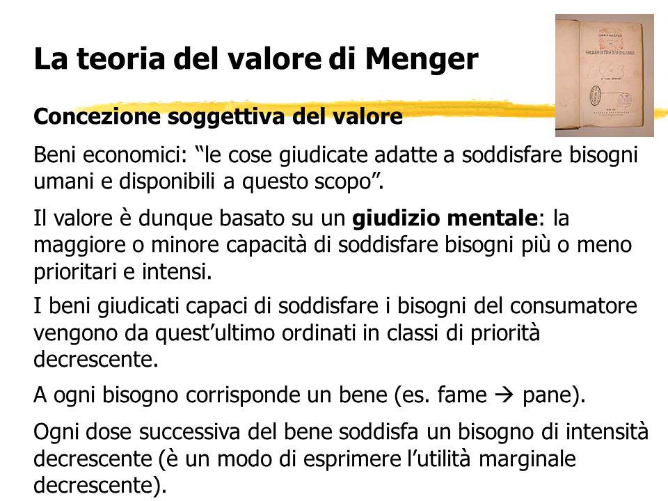 La teoria del valore di Menger Concezione soggettiva del valore Beni economici: le cose giudicate adatte a soddisfare bisogni umani e disponibili a qu