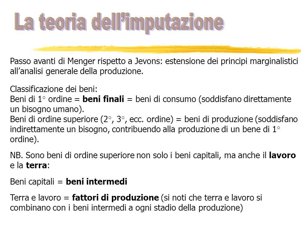Passo avanti di Menger rispetto a Jevons: estensione dei principi marginalistici allanalisi generale della produzione. Classificazione dei beni: Beni
