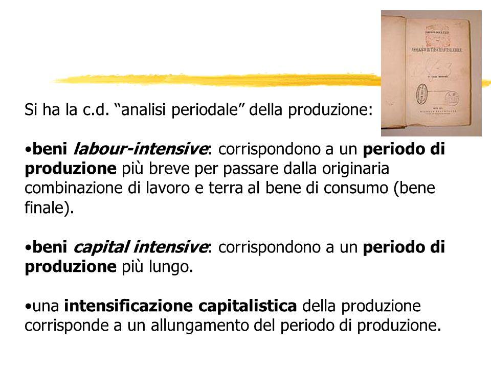 Si ha la c.d. analisi periodale della produzione: beni labour-intensive: corrispondono a un periodo di produzione più breve per passare dalla originar