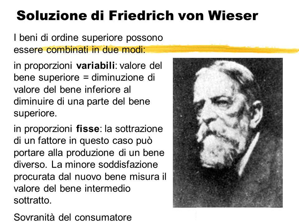 Soluzione di Friedrich von Wieser I beni di ordine superiore possono essere combinati in due modi: in proporzioni variabili: valore del bene superiore