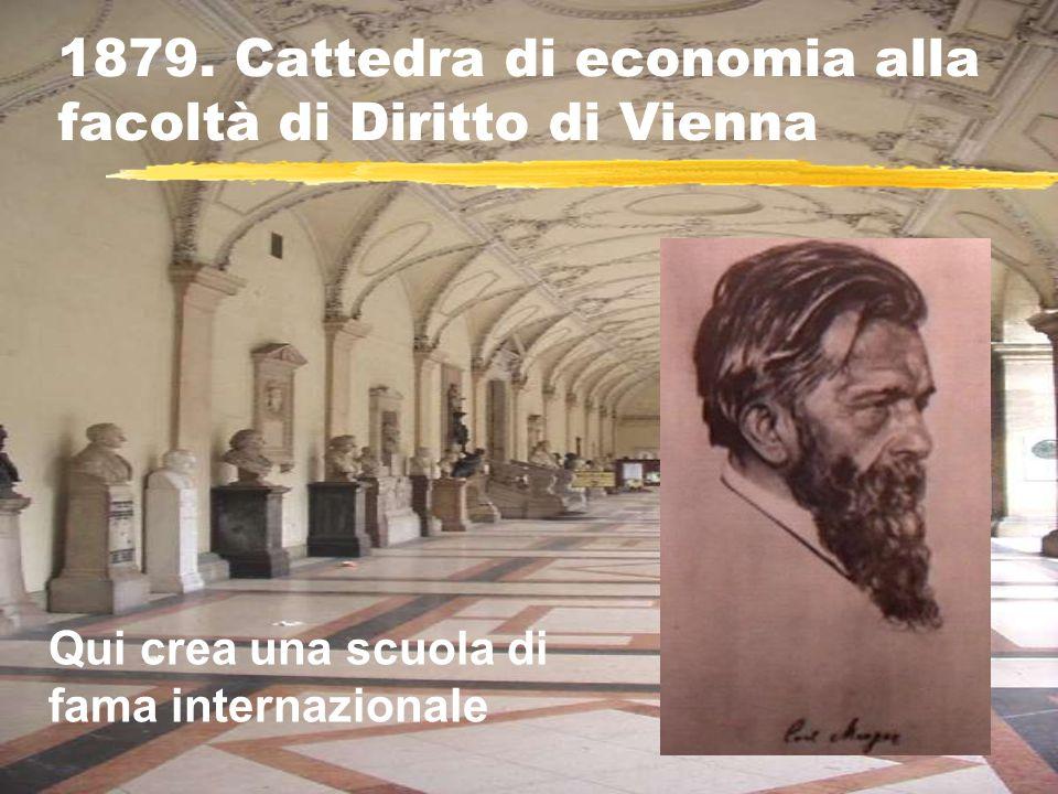 1879. Cattedra di economia alla facoltà di Diritto di Vienna Qui crea una scuola di fama internazionale
