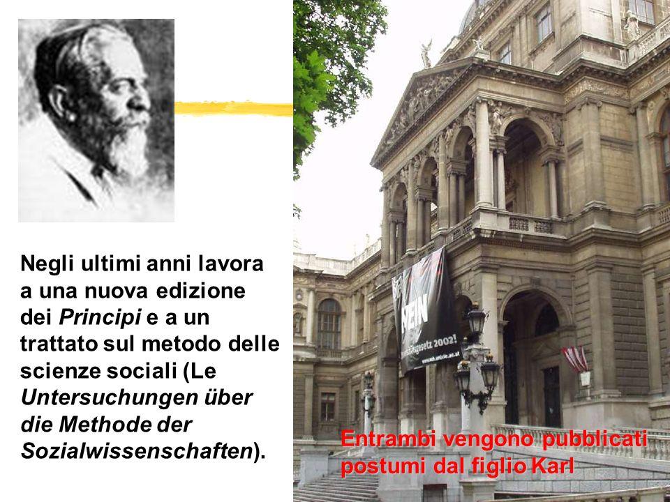 Negli ultimi anni lavora a una nuova edizione dei Principi e a un trattato sul metodo delle scienze sociali (Le Untersuchungen über die Methode der So