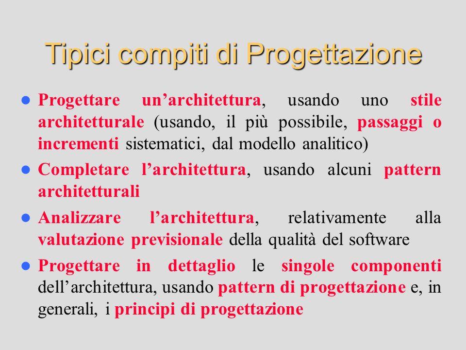 Progettare unarchitettura, usando uno stile architetturale (usando, il più possibile, passaggi o incrementi sistematici, dal modello analitico) Comple