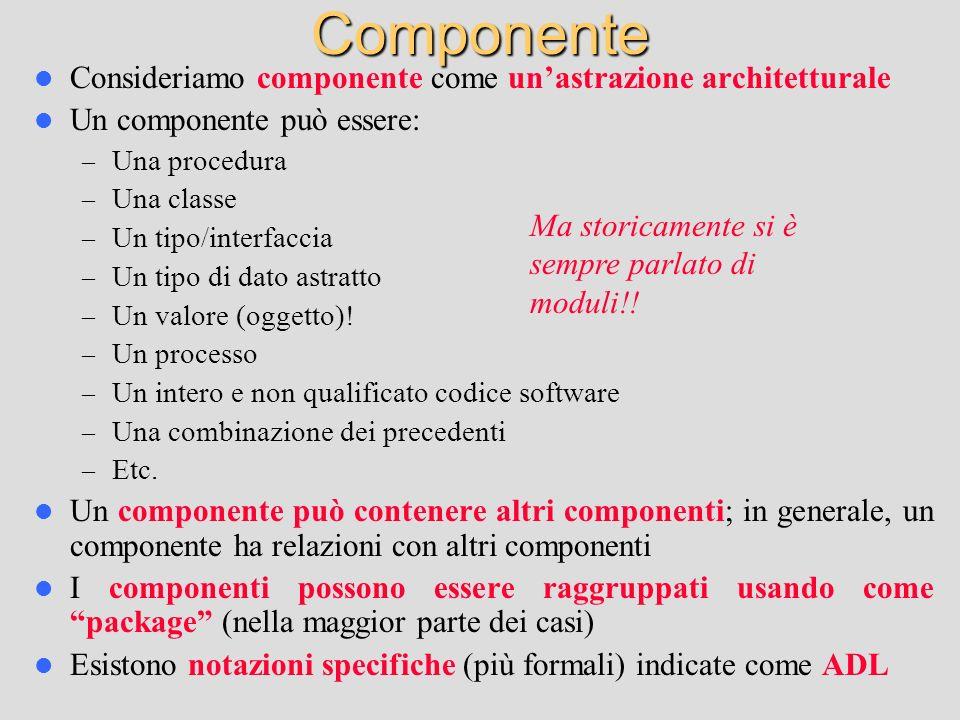 Componente Consideriamo componente come unastrazione architetturale Un componente può essere: – Una procedura – Una classe – Un tipo/interfaccia – Un