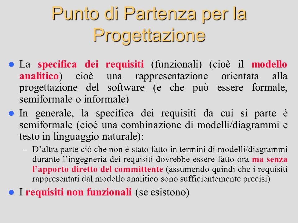 Punto di Partenza per la Progettazione La specifica dei requisiti (funzionali) (cioè il modello analitico) cioè una rappresentazione orientata alla pr